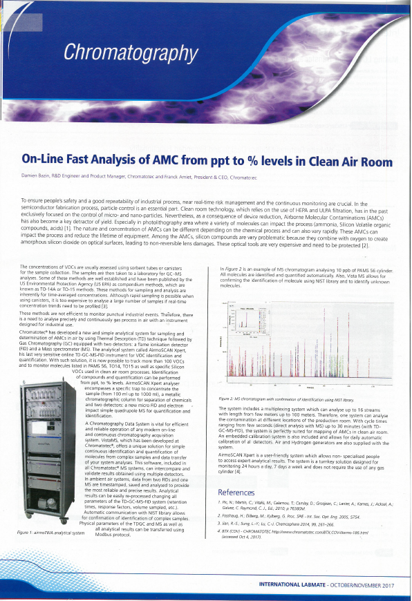 On-Line Fast Analysis of AMC from ppt to % levels in Clean Air Room